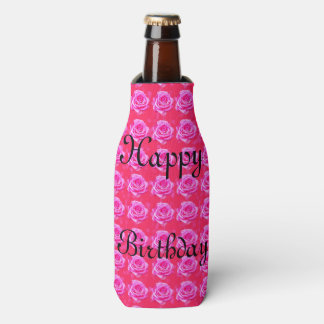 Birthday Greetings On Pink Roses, Bottle Cooler