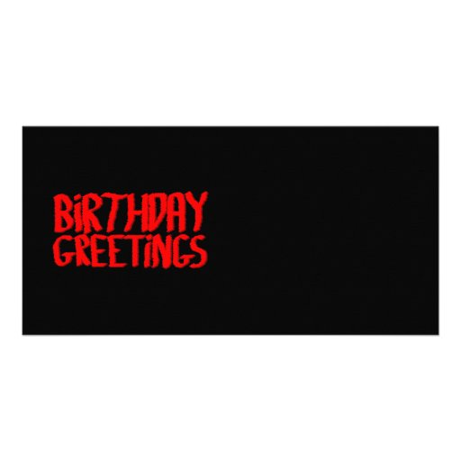 Birthday Greetings. Red and Black. Photo Card Template