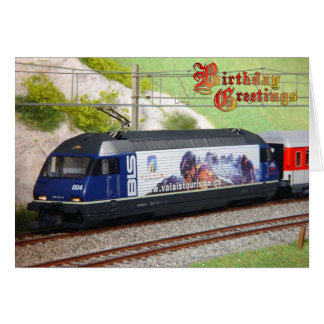 Birthday Greetings - Swiss train, Valais Card