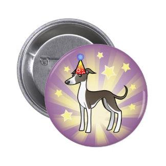 Birthday Greyhound / Whippet / Italian Greyhound 6 Cm Round Badge
