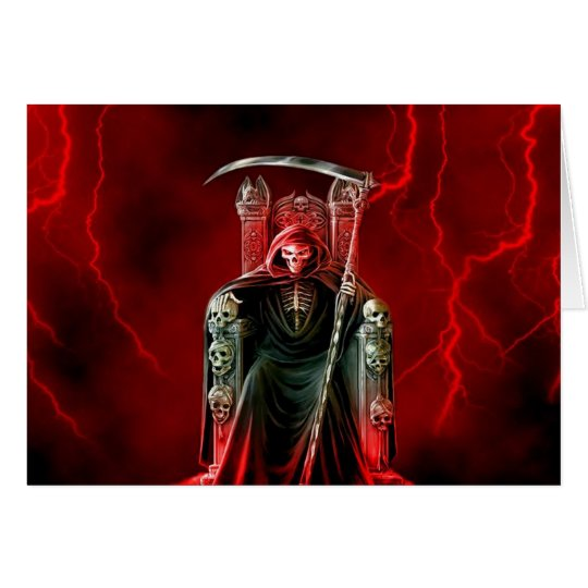 Birthday Grim Reaper On His Throne Card