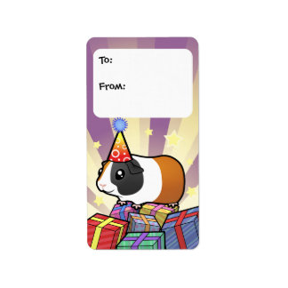 Birthday Guinea Pig Gift Tags (smooth hair)