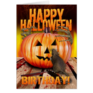 Birthday Halloween Pumpkin Rat, Skeleton Hands Greeting Card
