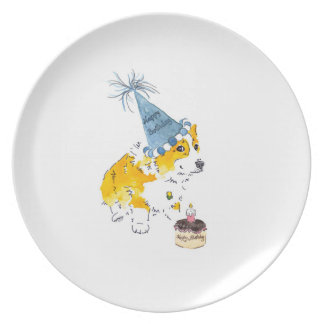Birthday Hat Corgi Plate