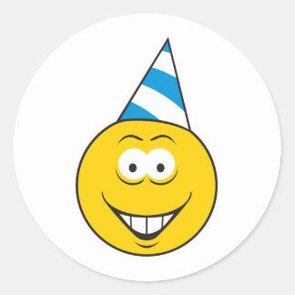 Birthday Hat Smiley Face Round Sticker
