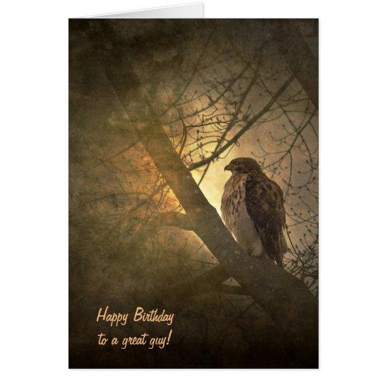 birthday-hawk in tree card