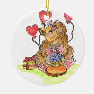 Birthday Hedgehog Christmas Ornament