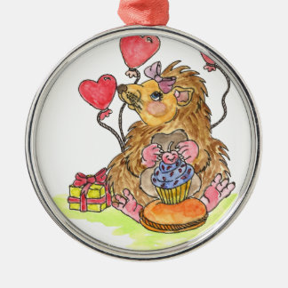 Birthday Hedgehog Christmas Ornament