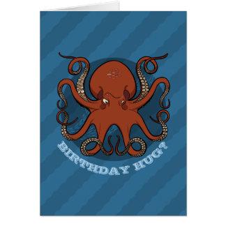 Birthday Hug Octopus Tentacles Cartoon With Text Card