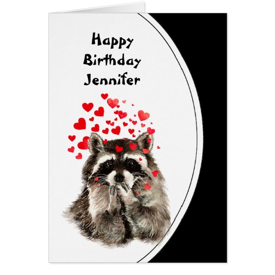 Birthday Hugs & Kisses Racoon Animal Custom Card