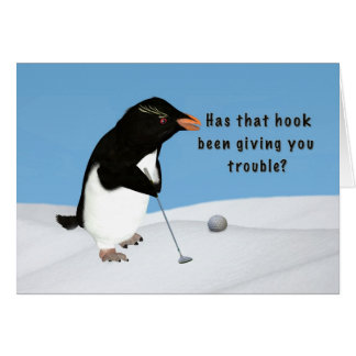 Birthday, Humorous Penguin Playing Golf Greeting Card