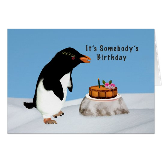 Birthday, Humourous Penguin and Cake Card