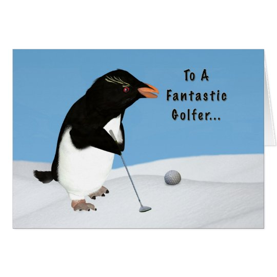 Birthday, Humourous Penguin Playing Golf Card