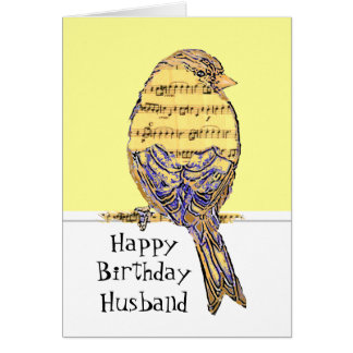 Birthday Husband Musician Fun Music Note Bird Card