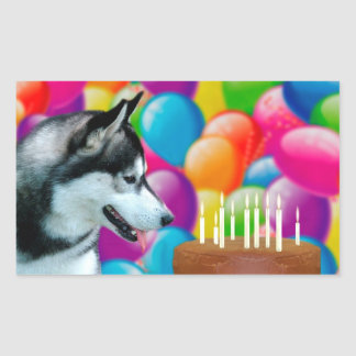 Birthday Husky Rectangular Sticker