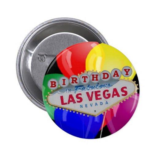 Birthday IN Fabulous Las Vegas Button - Balloons