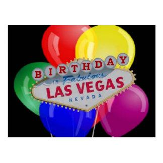Birthday IN Fabulous Las Vegas Postcard - Balloons
