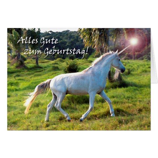 Birthday in German, Magical Unicorn Card