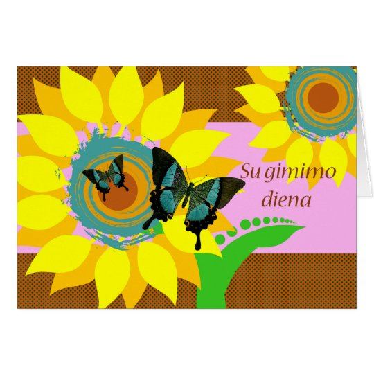 Birthday in Lithuanian, Su gimimo diena, Butterfly Card