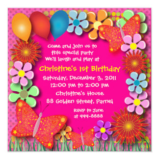 Birthday Invitation: 003 Butterflies and Flowers