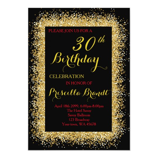 Birthday invitation, black, confetti,glitter, gold card
