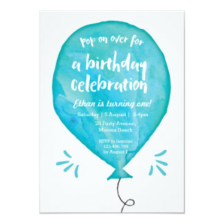Birthday Invitation | Blue Watercolour Balloon