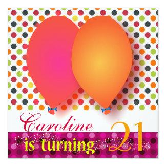 "Birthday Invitation: Caroline is turning 21 5.25"" Square Invitation Card"