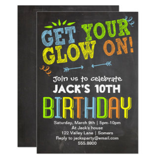 Birthday Invitation Chalk Neon Get Your Glow On