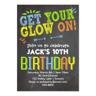 Birthday Invitation-Chalk + Neon, Get Your Glow On 13 Cm X 18 Cm Invitation Card