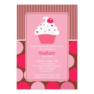 "Birthday Invitation Cute Cherry Cupcake Pink Brown 5"" X 7"" Invitation Card"