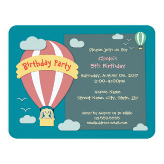 Birthday Invitation Hot Air Balloon Papercut