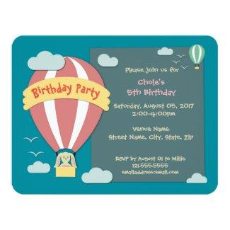Birthday Invitation Hot Air Balloon Papercut
