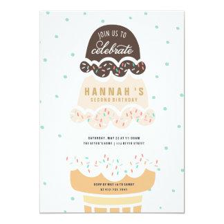 BIRTHDAY INVITATION - ICE CREAM CONE SCOOPS