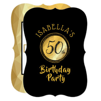 Birthday invitation in gold metallic effect poly