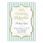 Birthday Invitation Mint Green Gold Adult Teen