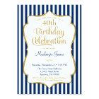 Birthday Invitation Navy Blue Gold Adult
