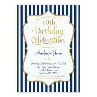 Birthday Invitation Navy Blue Gold Adult