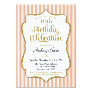 Birthday Invitation Peach Gold Adult Stripes