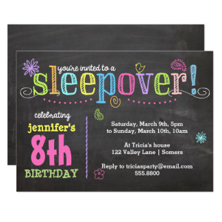 Birthday Invitation-Sleepover Party, Chalk + Neon Card