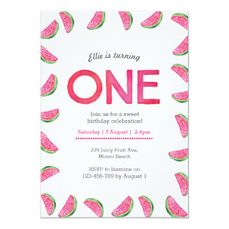 Birthday Invitation | tropical watermelon pink