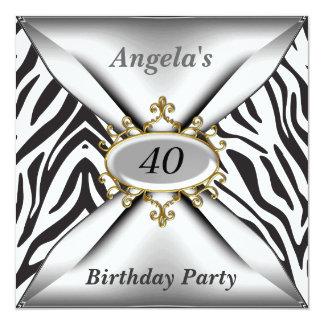 birthday Invitation White Zebra