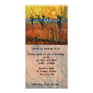Birthday invitation.Willows at Sunset by van Gogh. Personalized Photo Card