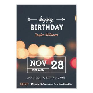 Birthday Invitation with Blurry Vintage Lights