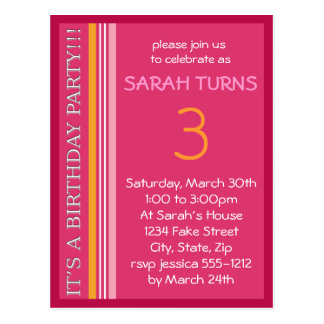 Birthday Invitation with Stripes Postcard
