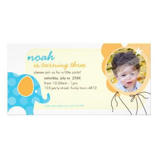 BIRTHDAY INVITE PHOTOCARD :: elephant + balloons 1 Photo Greeting Card