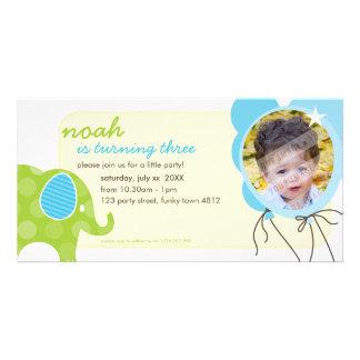 BIRTHDAY INVITE PHOTOCARD :: elephant + balloons 6 Customized Photo Card