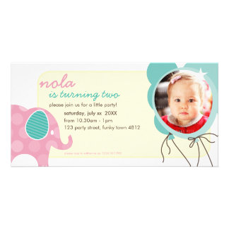 BIRTHDAY INVITE PHOTOCARD :: elephant + balloons 7 Photo Card Template