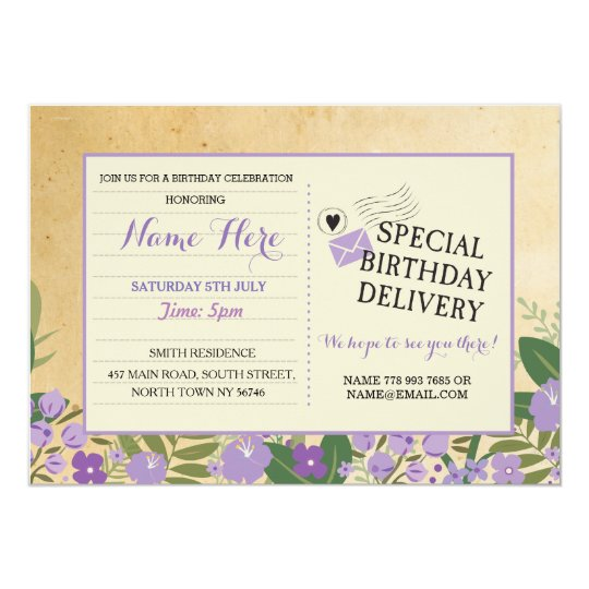 Birthday invite Postcard Purple Lilac Invitation