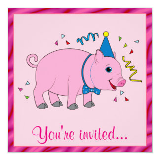 Birthday Invite with a Cartoon Piggy