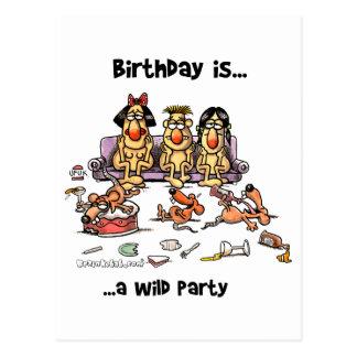 Birthday is... Wild Party Postcard